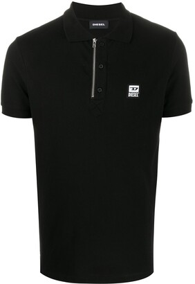 Diesel Logo Patch Front Zip Polo Shirt