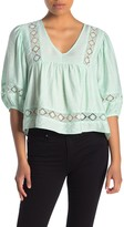 Lush Embroidered V-Neck Babydoll Top