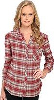 Three Dots Women's Long Sleeve Blouse w/ Pocket Brick Stone Button-up Shirt
