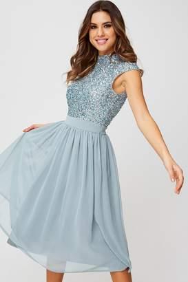 Little Mistress Luxury Michelle Cornflower Hand-Embellished Sequin Top Midi Dress
