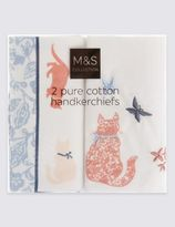 Marks and Spencer 2 Pack Pure Cotton Animal Print Handkerchiefs