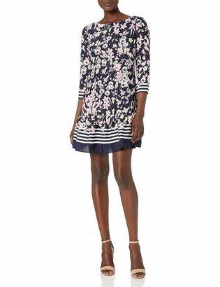 Eliza J Women's Fit and Flare Dress with Stripe Border