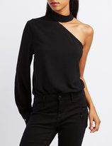 Charlotte Russe One-Shoulder Mock Neck Bodysuit