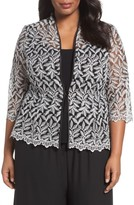 Alex Evenings Plus Size Women's Metallic Embroidered Twinset