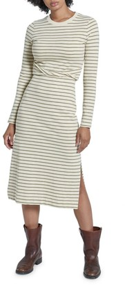 Current/Elliott The Studio Striped Long-Sleeve Side-Slit Midi Dress