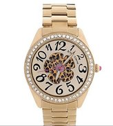Betsey Johnson Watch, BJ00048-52 Gold-Tone Leopard Flower Boyfriend Watch