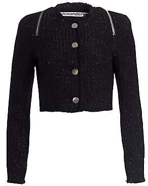 Alexander Wang Women's Tweed Zipper Trim Fitted Jacket