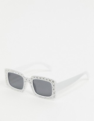 Asos EDITION square sunglasses in white with diamantes