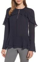 Women's Classiques Entier Bell Sleeve Pinstripe Silk Blouse