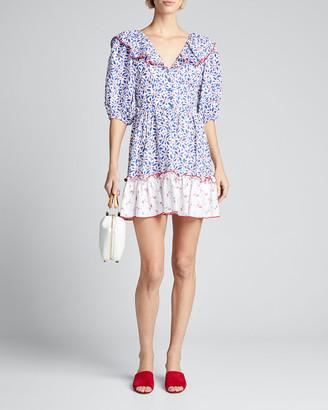 Gül Hürgel Puff-Sleeve Ruffle Short Dress w/ Lace-Up Back