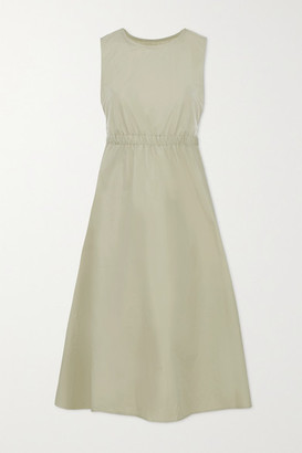 Frankie Shop Erica Cutout Cotton And Linen-blend Poplin Midi Dress - Sage green