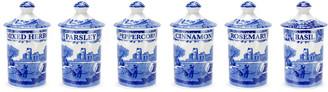 Spode Blue Italian Set Of Six 4In Spice Jars