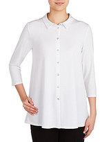 Peter Nygard Point Collar 3/4 Sleeve Button Front Tunic