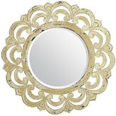 "Pier 1 Imports Ivory Ornate Wood Framed 32"" Round Mirror"