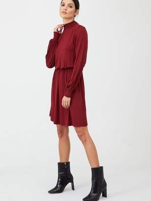 Very High Neck Fit And Flare Dress
