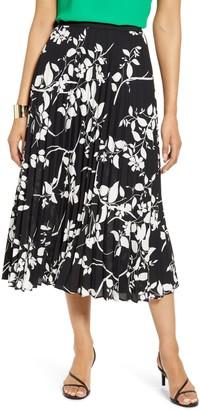 Halogen Floral Print Pleated Midi Skirt (Regular & Petite)
