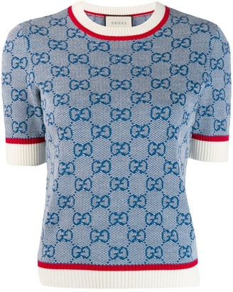 Gucci GG logo print knitted top