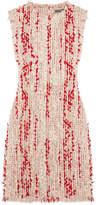 Alexander McQueen Frayed Tweed Mini Dress - Red
