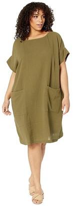 Eileen Fisher Plus Size Organic Cotton Lofty Gauze Ballet Neck Knee Length Dress (Olive) Women's Clothing