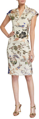 Etro Floral Dragon Brocade Fitted Cap-Sleeve Dress