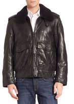 Andrew Marc Anchorage Shearling-Trimmed Aviator Jacket