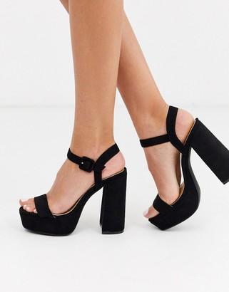 Raid Merida black suede platform sandals