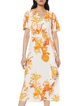 Dorothy Perkins Women's Parrot Print Buckle WRAP Maxi Dress