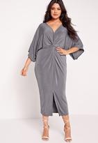 Missguided Plus Size Slinky Kimono Midi Dress Grey