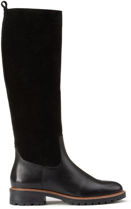 La Redoute Collections Flat Heel Leather Boots with Notched Sole