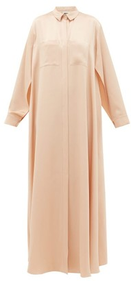 Maison Rabih Kayrouz Chest Pockets Satin Shirtdress - Womens - Light Pink