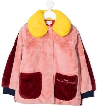 The Marc Jacobs Kids Multicolour Faux Fur Collared Coat