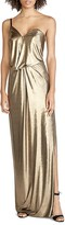 Halston One Shoulder Metallic Gown