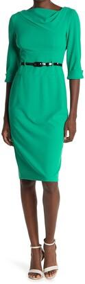Donna Morgan Cowl Neck 3/4 Sleeve Sheath Dress