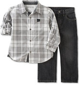 Calvin Klein Baby Boys' 2-Pk. Plaid Shirt & Jeans Set
