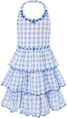 Monsoon Gingham Halter Embroidered Dress Blue