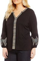 Democracy Plus Embroidered Placket Blouse