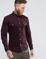 Asos Skinny Military Shirt Twill With Long Sleeves In Rust