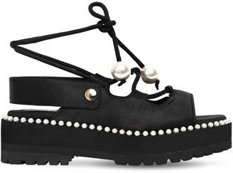 SUECOMMA BONNIE 60mm Satin Lace-up Platform Sandals