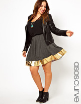 Asos Skater Skirt with Metallic Hem
