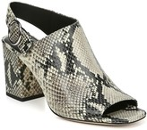 Via Spiga Elma Snake Embossed Leather Block Heel Sandal