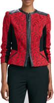 Magaschoni Textured Jacquard Leather-Trim Jacket