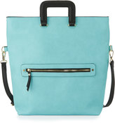 Neiman Marcus Marlie Fold-Over Tote Bag, Turquoise/Navy