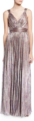Catherine Deane Metallic V-Neck Sleeveless Knitted Dress