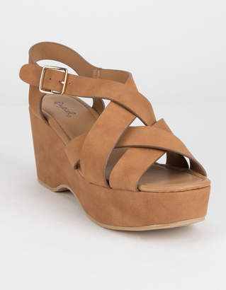 Qupid Strappy Camel Womens Wedge Sandals