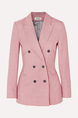 Cefinn - Double-breasted Houndstooth Wool-blend Blazer - Pink