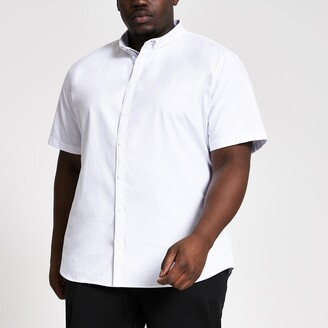 River Island Mens Big and Tall White slim fit Oxford shirt