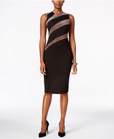 Ivanka Trump Faux-Suede-Stripe Sheath Dress