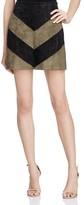 Astr Ruth Chevron Faux Suede Mini Skirt