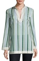 Tory Burch Cliff Striped Long-Sleeve Tunic, Multi