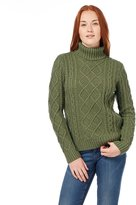 Wool Overs Women's Lambswool Chunky Cable Turtleneck Sweater